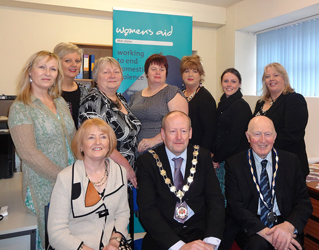 Mayor Councillor Sean McGuigan officially opens Mid Ulster Women's Aid Outreach Base in Dungannon.